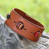 Leather wristband bracelet - Accra Art in Tan - NOVICA $24.95