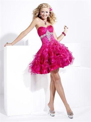 Sweetheart Strapless Beaded Ruffle Fuchsia Short Prom Dress PD0224 www.tidebridaldresses.com $120.0000
