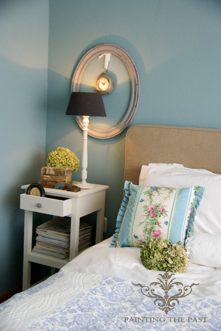 Eucalyptus wall-color. Upstairs bedroom instead of just plain blue
