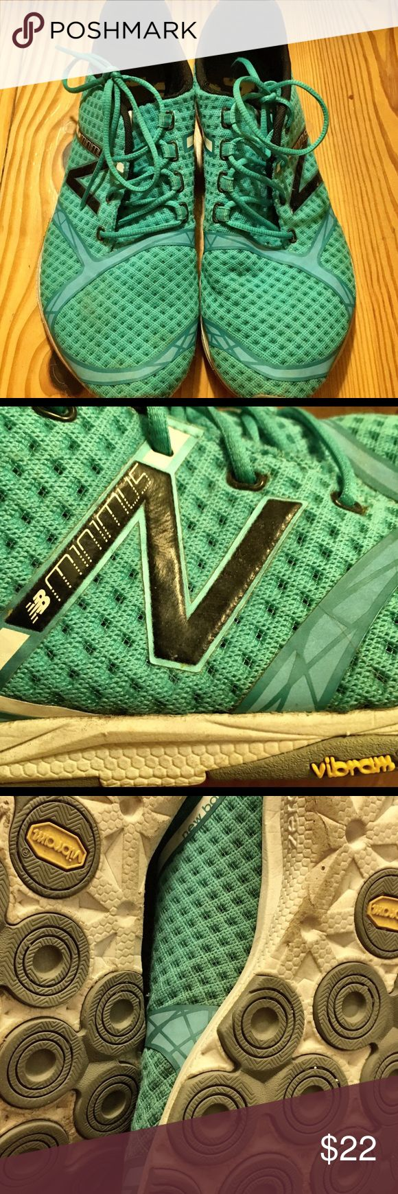 """New Balance Minimus Running Shoes NEW BALANCE WOMEN'S TEAL MINIMUS ZERO DROP ATHLETIC SHOES! Teal in color with """"N"""" of new balance in black on sides of shoes.  Vibram designed, feels like you are wearing a padded sock - very comfortable.   Good condition, some wear on soles (please see pic).  Women's size 10 New Balance Shoes Athletic Shoes"""