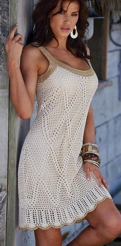 White and Gold Summer Dress - Crochet Pattern                                                                                                                                                                                 More
