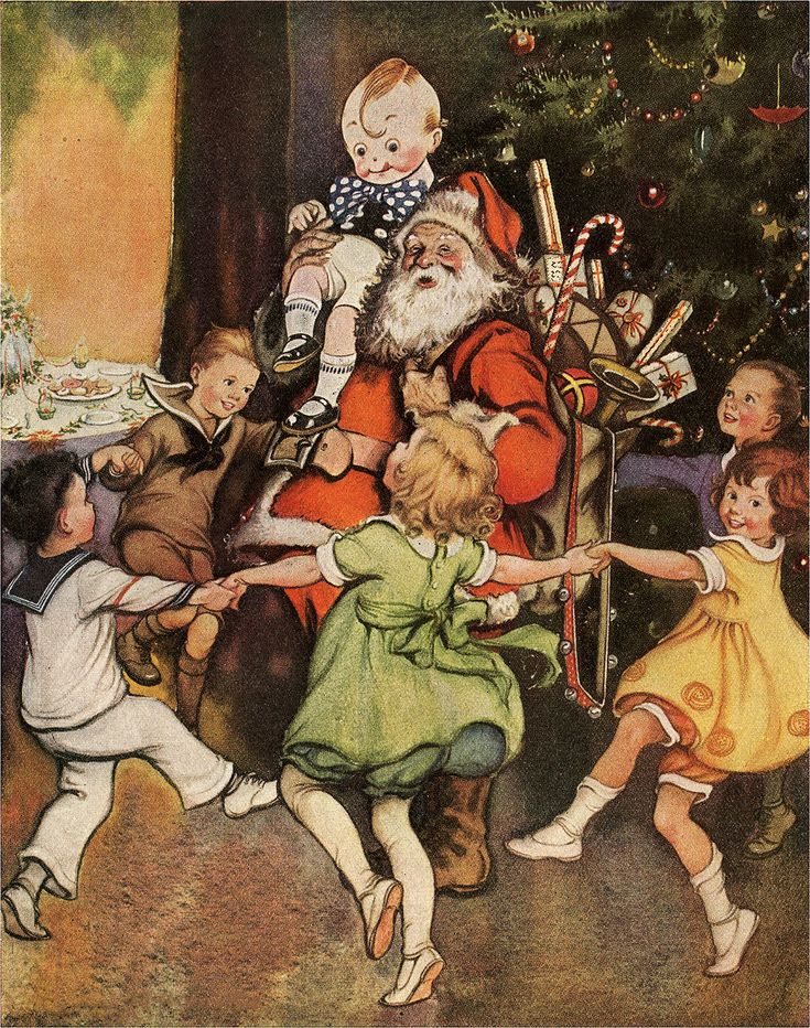 Today I'm sharing this Nostalgic Children Dancing Around Santa Image! In this beautifully colored image are children holding hands while dancing around a jolly Santa. One little boy is on his shoulders laughing. Santa's bag is brimming with toys in front of a decorated pine tree. A table is set with cookies and a beautiful tablecloth....Read More »
