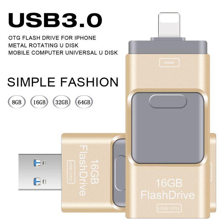 USB Flash Drive 64 GB Pendrive Pen Drive de Alta Velocidad para iphone 5/5s/5c/6/6 plus/7/ipad usb stick unidad flash usb otg 3.0 16 GB