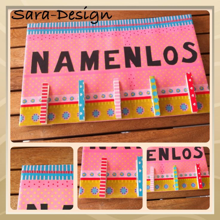 Namenlos / No Name - Blätter der Kids ohne Namen werden hier aufgehängt / Washi Tape / Klammern