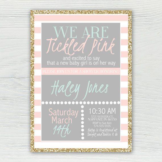 Tickled Pink Baby Shower Invitation Mint by JordanSantosDesign
