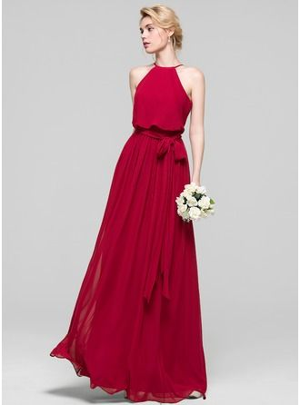 A-Line/Princess Scoop Neck Floor-Length Bow(s) Zipper Up Spaghetti Straps Sleeveless No Burgundy Spring Summer Fall General Plus Chiffon Bridesmaid Dress