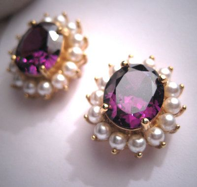 Estate Vintage Amethyst Pearl Earrings Gold by AawsombleiJewelry, $249.00