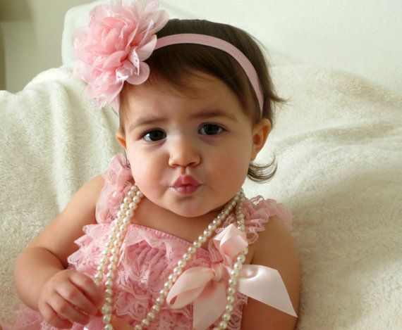 Baby Headband Pink Chiffon and Lace by HarperSophiaBoutique, $9.25 or Romper & Headband for $25.99. Such a sweet set!!!