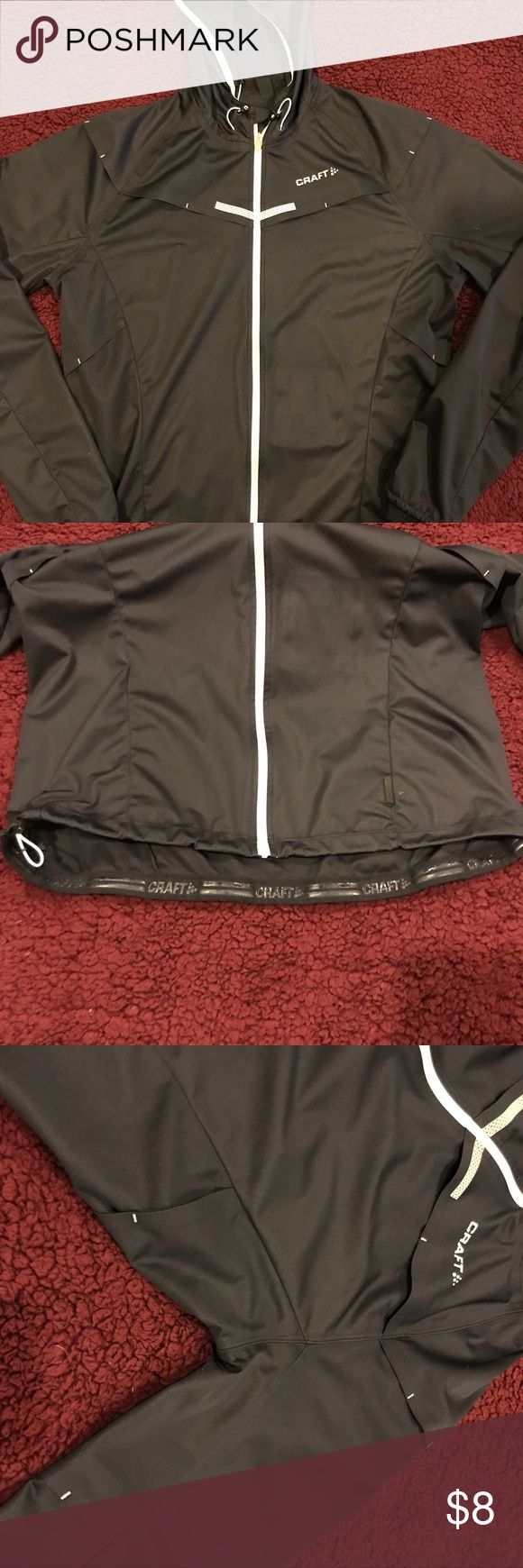 🏃♀️Craft women's running jacket🏃♀️ Women's running jacket. Black with many open side to breath. Draw string on bottom of jacket and hood. The hood can roll and snap on the back of the neck. Super light and easy to take anywhere! Excellent condition only worn a handful of times. Make me an offer🖤 Craft Jackets & Coats Utility Jackets