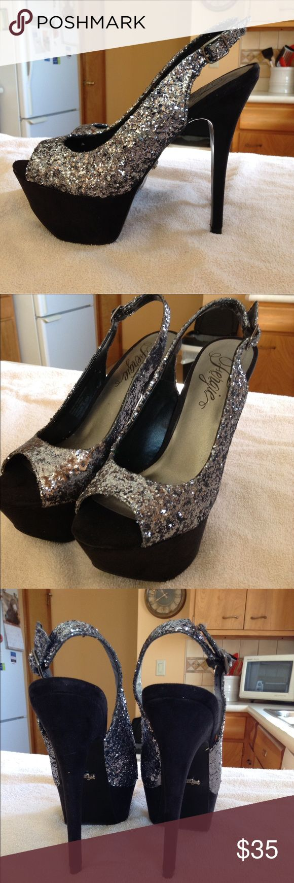 Fergie glitter heels Sexy, glittery, head turning heels. Heel is 5 inches. Worn once. Fergie Shoes Heels