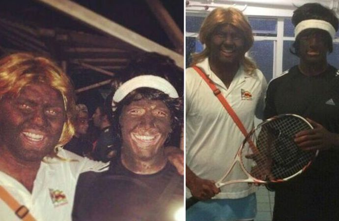 "from a media studies professor reflects upon two white South African students—Mark Burman and Ross Bartlett—who donned blackface and dressed up as ""Venus and Sarena Williams"" at a party at the University of Stellenbosch"