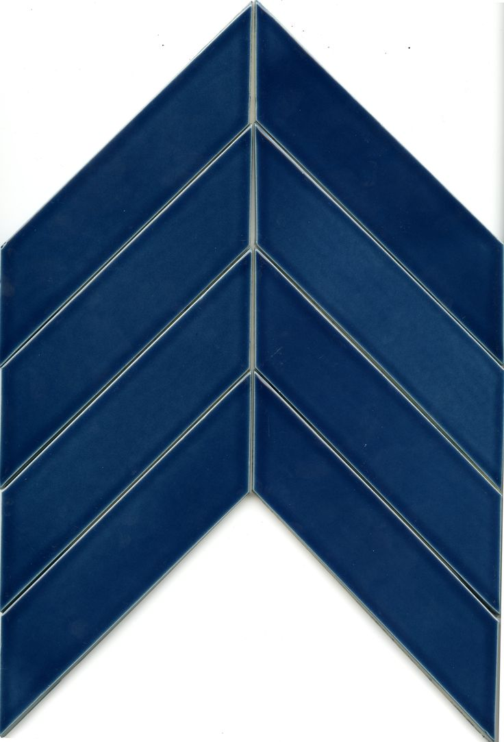 Clayhaus Ceramic 2x8 Chevron Subway Tile Caspian Blue