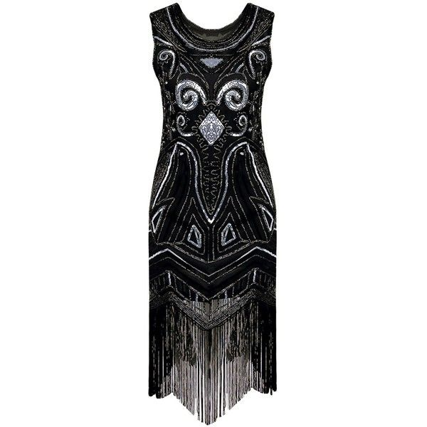 Sequins Beading Sleeveless 1920s Gatsby Flapper Vintage Dress (2.250 RUB) ❤ liked on Polyvore featuring dresses, vintage beaded dress, vintage 20s dresses, gatsby dress, 1920s flapper dress and vintage dresses