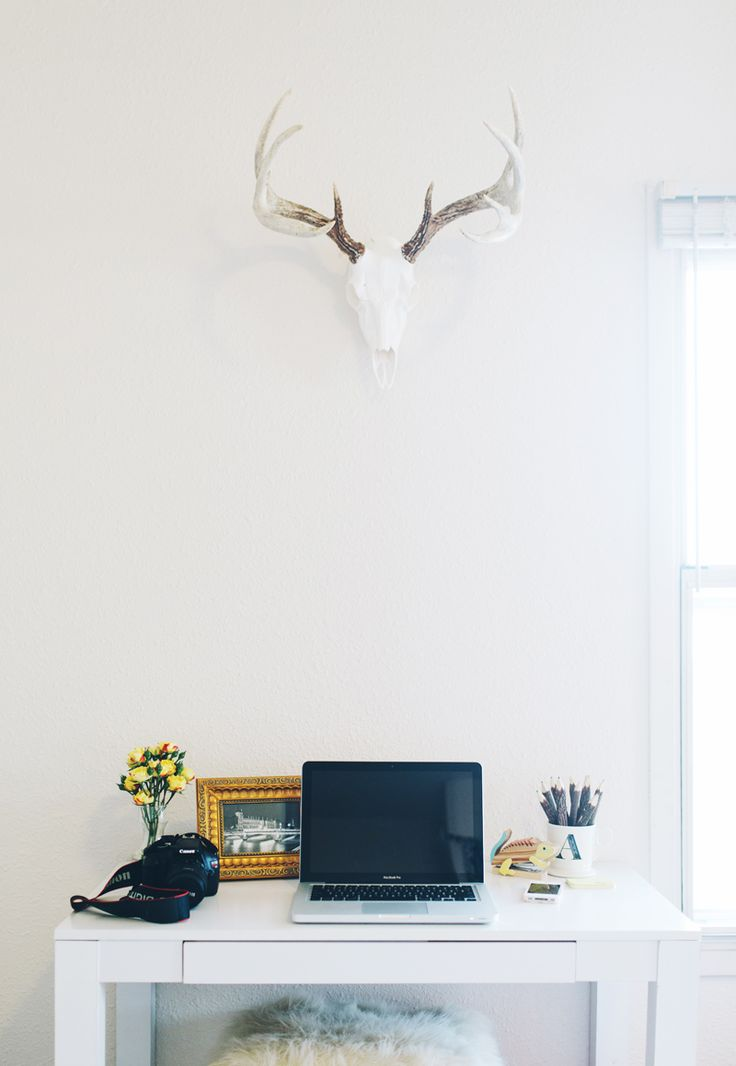 antlers above the desk. Amanda Risius' Iowa College Apartment Tour #theeverygirl