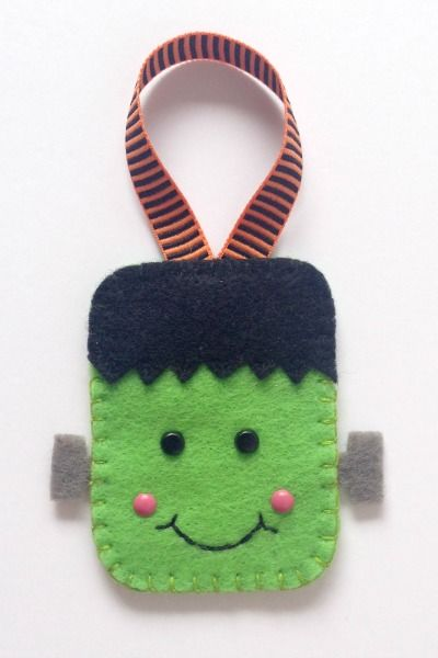 Felt Halloween Ornaments Set 2 Tutorial and Free Pattern - Frankenstein - Felt With Love Designs