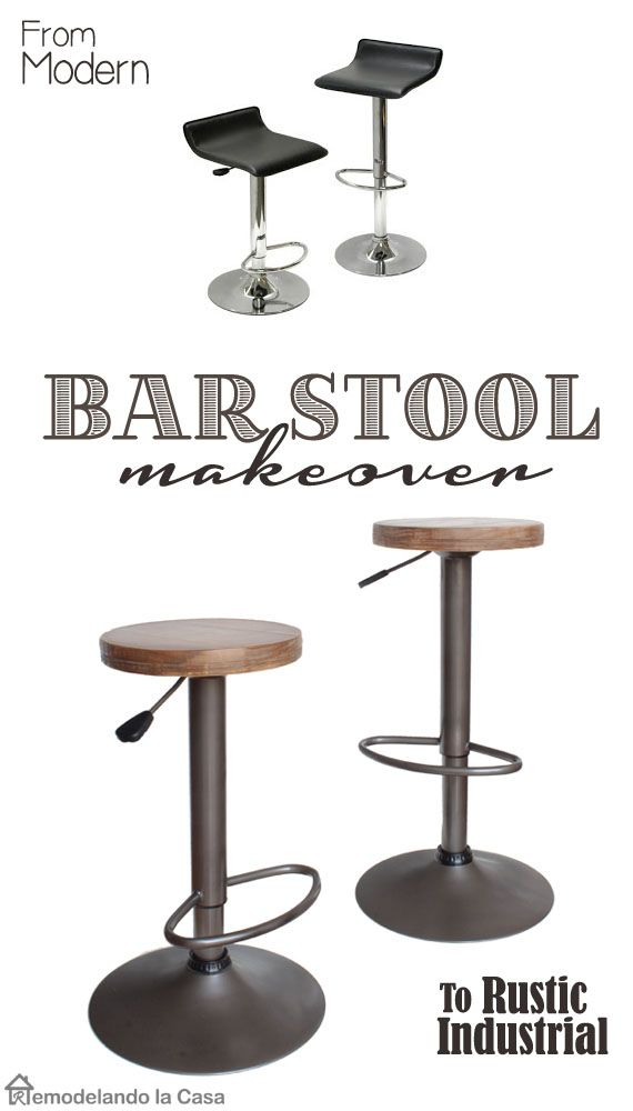 Bar Stool Makeover - From Modern to Rustic Industrial