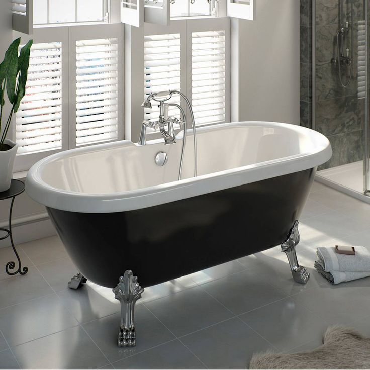 £279.99 Victoria Plum Shakespeare Black Roll Top Bath with Dragon Feet or ball feet
