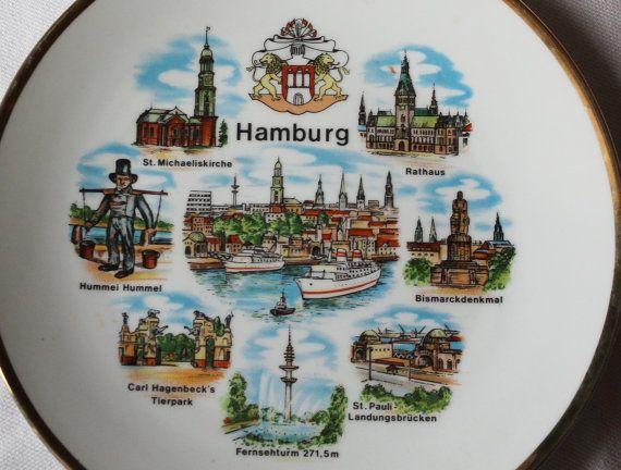 Vintage Hamburg Germany Souvenir Plate By Muzettaswaltz On