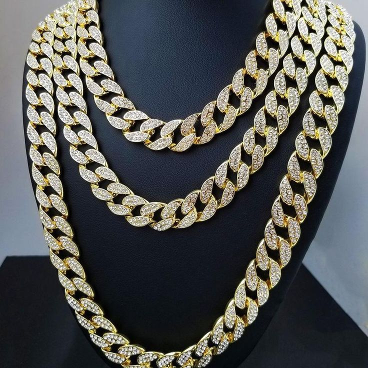 Womens Fashion Thick Iced Out Bling Rhinestone Crystal Gold Finish Miami Cuban Link Chain Necklace