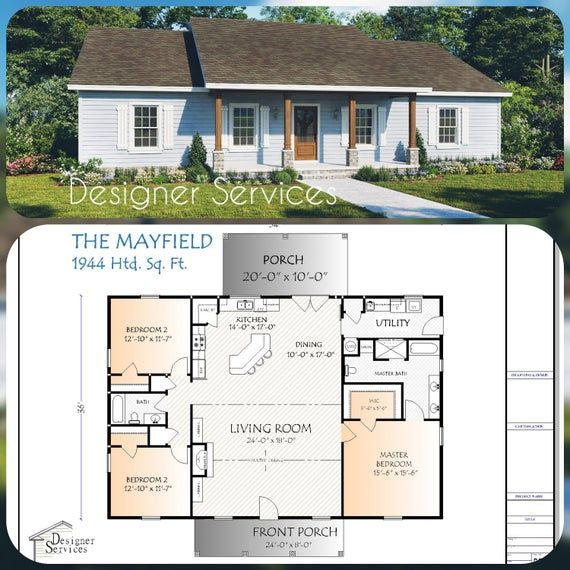 Mayfield House Plan 1944 Square Feet Square House Plans House Plans One Story Simple House Plans