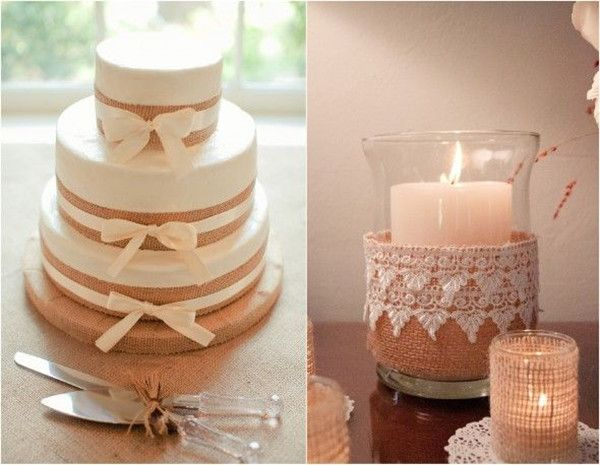 cute simple cake decorated with burlap stripes; nice ideas for decorations