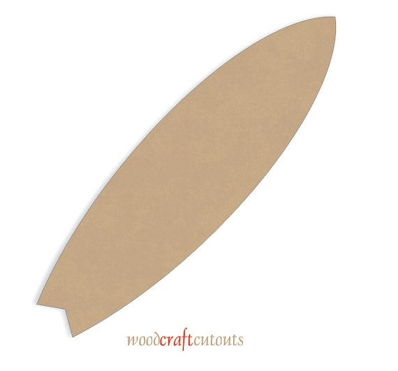 One 24 long Surfboards Craft Cutout Shape  Size: 24 long x 6.75 wide x 3/8 thick Material: MDF Quantity: 1  Smooth and ready to paint surface.