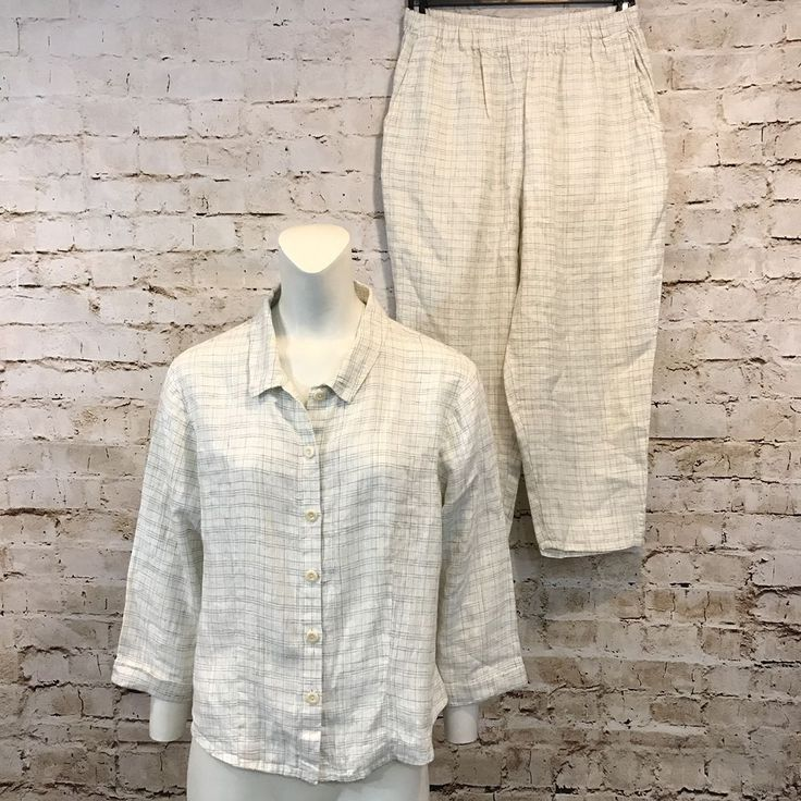 FLAX Womens Small Linen Set Tunic Top Pants Lagenlook Shirt Plaid Englehart  | eBay