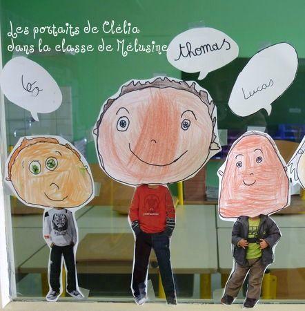 on découpe le corps dans les catalogues VPC , on dessine la tête, on assemble, on expose sur les vitres. Ecriture du prénom en attaché dans les bulles, parfait!