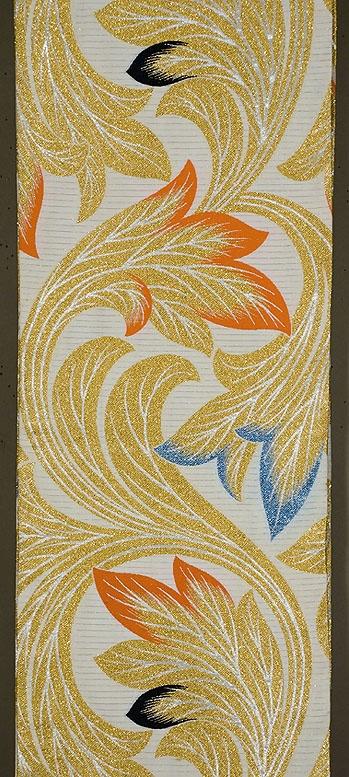 Japanese Maru obi. Silk, gold and silver brocade. Summer Art Deco. 1930s