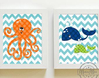 Nursery art - Beach Nautical Nursery Decor, Ocean Prints,  Boys Room Decor ,Set of 2 8 x10 Wall Art , Whale and Octopus