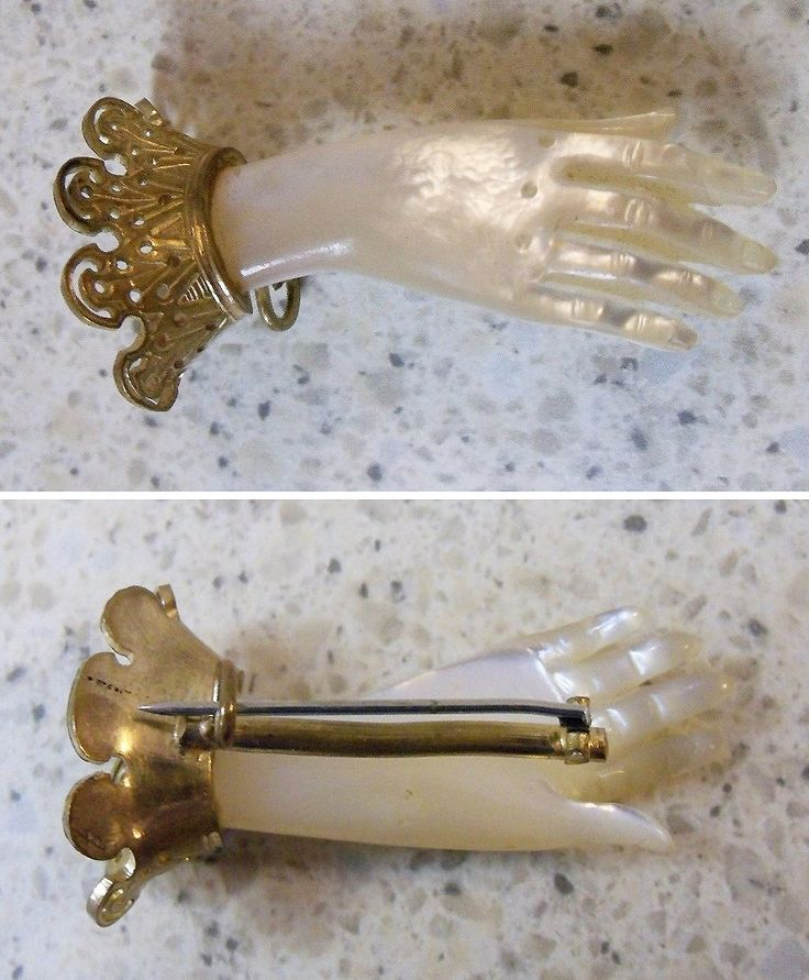 ANTIQUE MOTHER OF PEARL BROOCH-1800'S-VICTORIAN HAND FIGURE, US $134,10 Ca. EUR 98,38