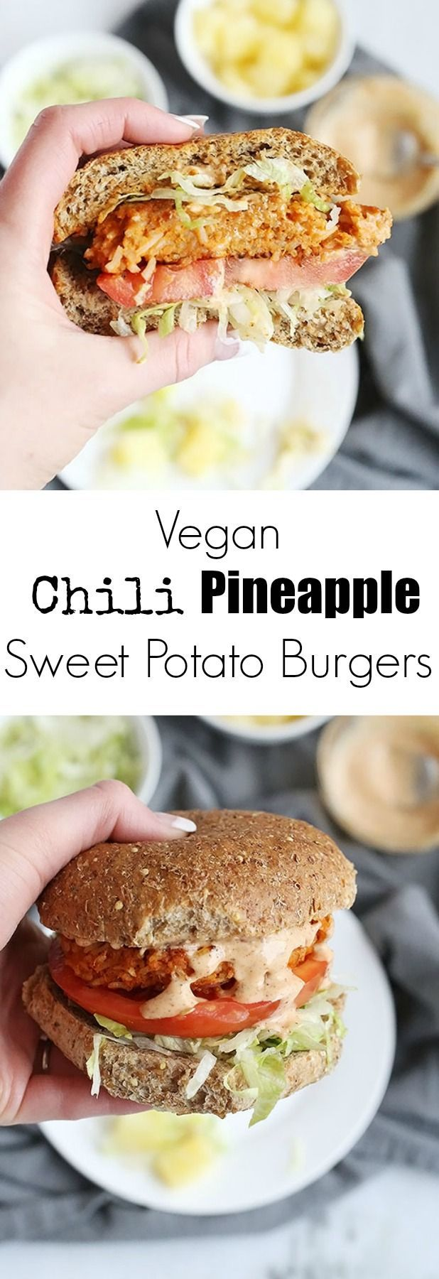 These Vegan Chili Pineapple Sweet Potato Burgers are FULL of flavor! sweet pineapple and spicy chili make an amazing combo. A chili flavored spread pairs perfectly with these burgers! Vegan and Gluten Free Option. /