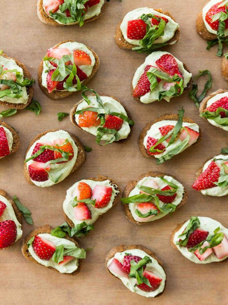 Whipped Basil Ricotta and Strawberry Crostini