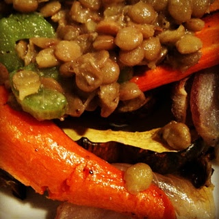 roasted fall veggies with lentils | Food ~ Vegetarian | Pinterest