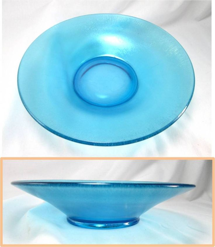 "Blue Glass Shallow Decorative Fruit Display Bowl 10"""
