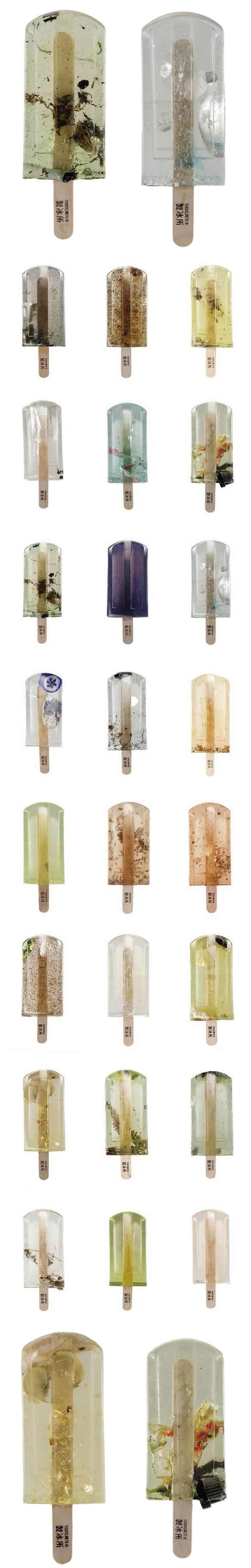 "Beautiful, until you realize what you're looking at … ""Polluted Water Popsicles"". I have to be honest, I don't really know the full story behind this project. They only have a Facebook page, with just"