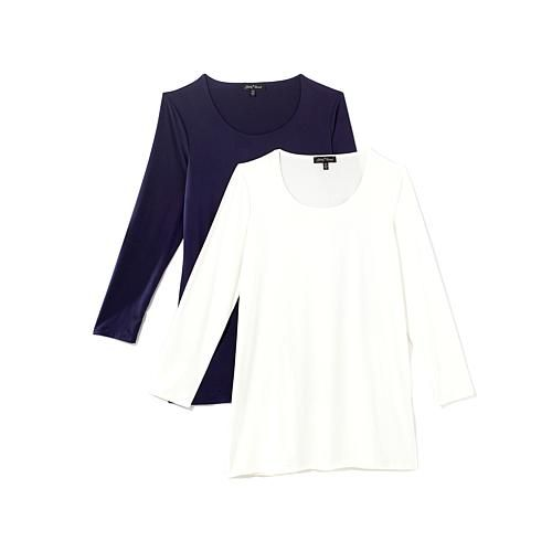 Slinky® Brand 2pk Long-Sleeve Brushed Knit Long Tunics - Ivory/Navy