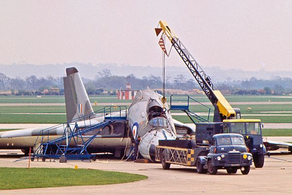 Historical Photo Reveals the Damage to Vulcan XH556 due to Undercarriage Collapse, 1966