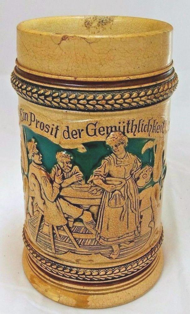 Antique German Stein ein Prosit der Gemütlichkeit Oktoberfest no marks 1/2L