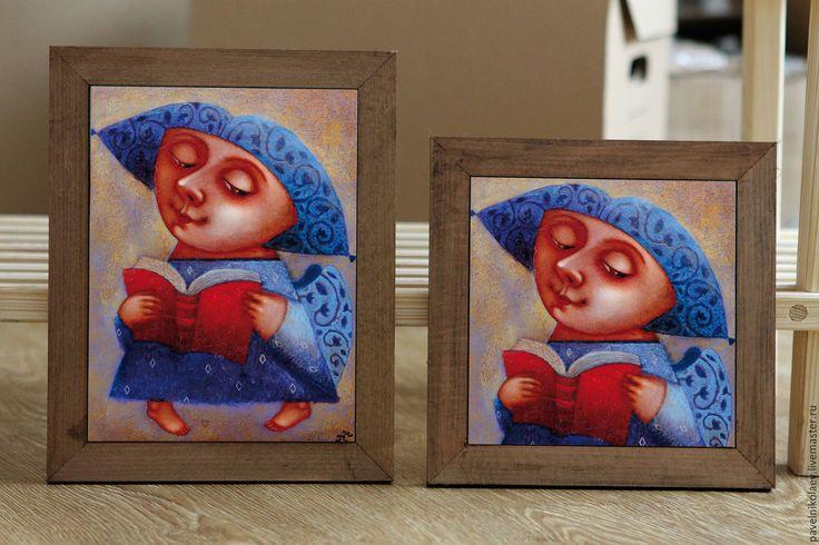 """Купить """"Ангел книжкой"""", авторская печать. - синий, ангел, ангел с книжкой, книга, ангел-хранитель"""