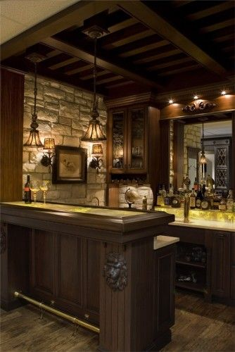 Elegant Man Cave Ideas : Love this bar pendant lights are very nice stone and