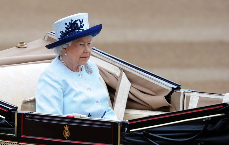 Queen Elizabeth II arrives at Horseguards Parade during Trooping the Colour at The Royal Horseguards on June 14, 2014 in London, England.