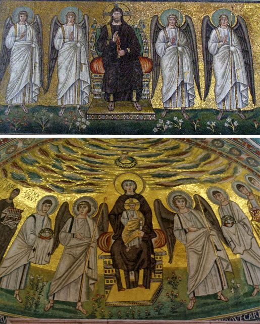 § 2 mosaiques du VIe s. la 1ere : Ravene basilique St apolinaire le neuf. la 2eme : Porec, Croatie, basilique euphrsienne.