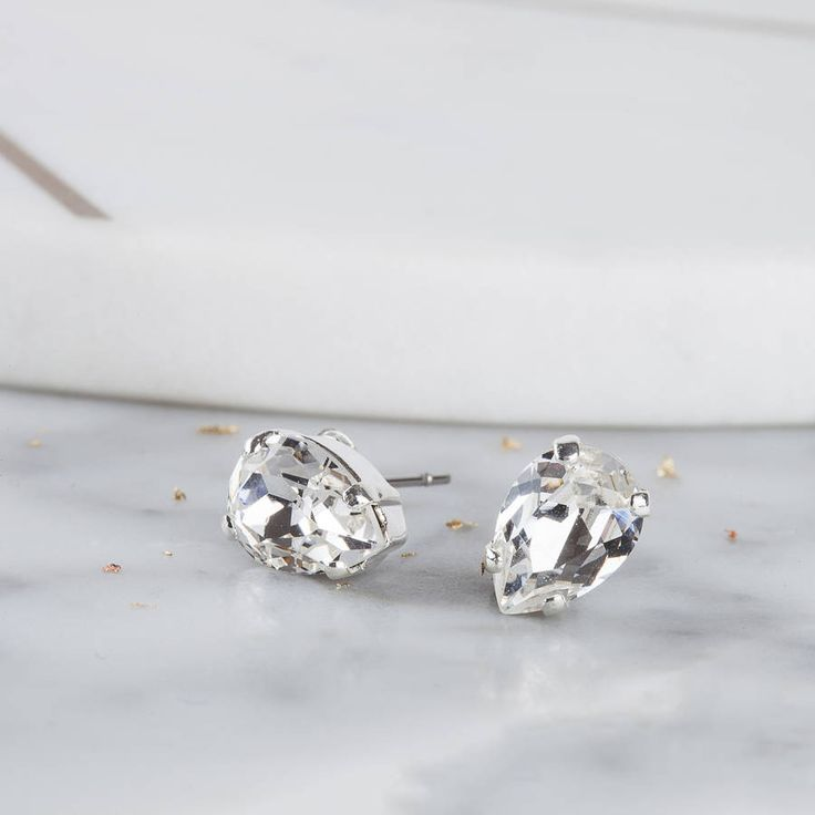 Iscah and Mimi Small Pear Crystal Earrings