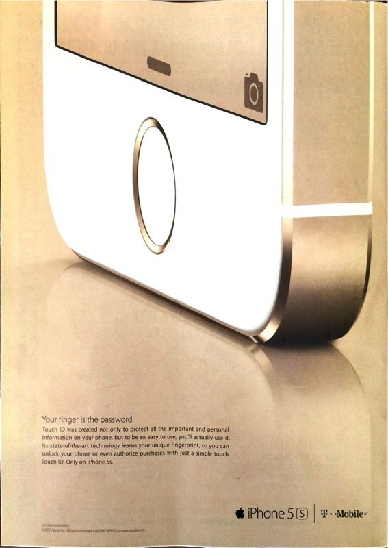 First Magazine Advertisement for iPhone 5s Appears, Highlights Touch ID Sensor - http://www.aivanet.com/2013/10/first-magazine-advertisement-for-iphone-5s-appears-highlights-touch-id-sensor/