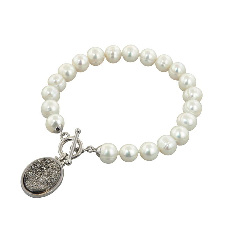 Honora Pearl And Druzy Toggle Bracelet