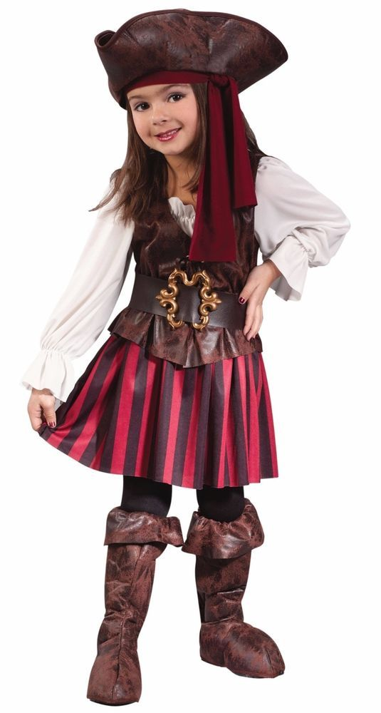 Deluxe High Seas Pirate Costume for Girls! Includes Full Dress, Belt, Boot-Covers, and Hat with Bandana. Available in Toddler/Child Size 2T (33-37in tall), and Toddler/Child size 3T-4T (38-40in tall). | eBay!