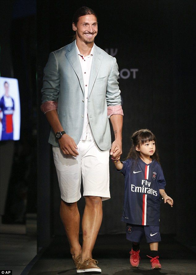 Stylish: Ibrahimovic takes to the catwalk at a fashion show for Swiss watchmaker Hublot in...