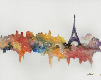 Resumen pintura de Torre Eiffel París obras de arte por DellArt