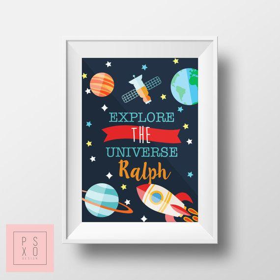 Gepersonaliseerd kwekerij Print  Verken het heelal  door PSXODesign